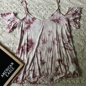 American Eagle Maroon and White Cold Shoulder